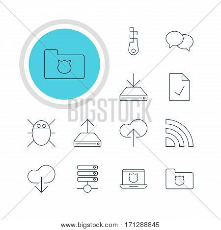 Vector Illustration Of 12 Web Icons. Editable Pack Of Cloud Download, Data Upload, Checked Note And Other Elements.