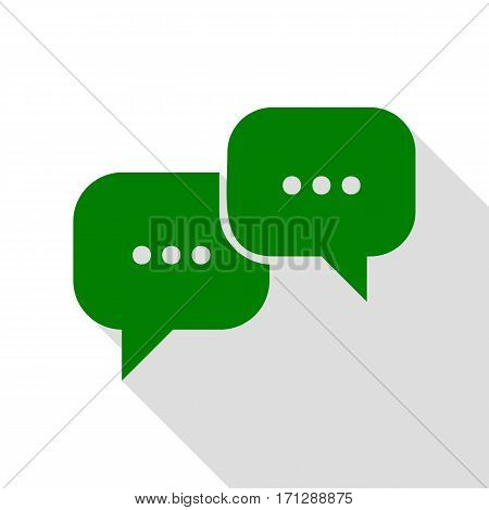 Speech bubbles sign. Green icon with flat style shadow path.