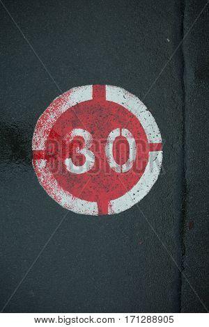 30 Km Maximum Marked On Road Tar