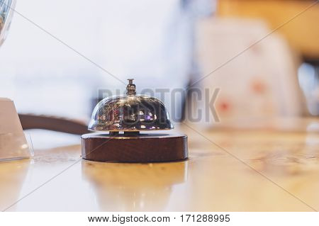 Cervice bell on the table. Business concept Serve today hotel kitchen or bar visit.
