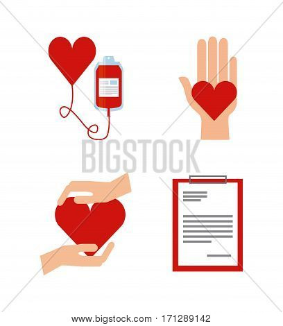 icon set of donate blood concept over white background. colorful design. vector illustration