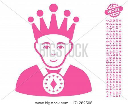 King icon with bonus human design elements. Vector illustration style is flat iconic pink symbols on white background.