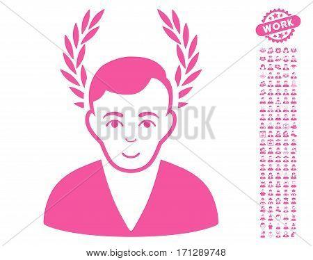 Man Glory icon with bonus men images. Vector illustration style is flat iconic pink symbols on white background.
