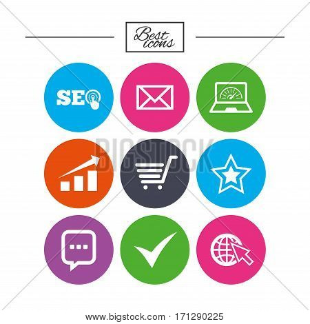 Internet, seo icons. Tick, online shopping and chart signs. Bandwidth, mobile device and chat symbols. Classic simple flat icons. Vector
