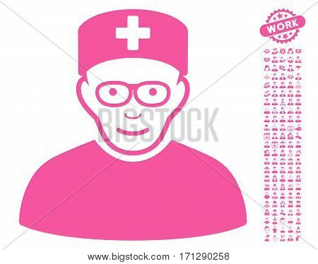 Medical Specialist icon with bonus occupation design elements. Vector illustration style is flat iconic pink symbols on white background.