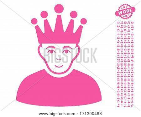 Moderator icon with bonus people clip art. Vector illustration style is flat iconic pink symbols on white background.
