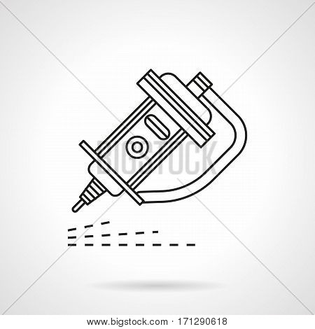 Symbol of engraver tool. Quality engraving of metal and other surfaces. Equipment for industry and workshops. Flat black line vector icon.