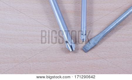 screwdriver on a wooden background it is a tool for screwing and unscrewing screws