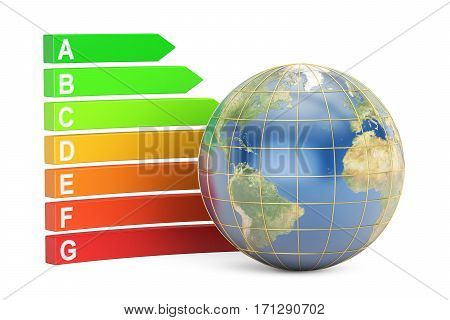Energy efficiency concept chart with Earth. 3D rendering isolated on white background