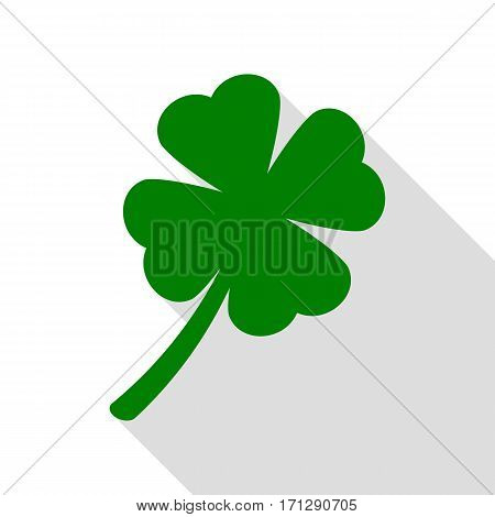 Leaf clover sign. Green icon with flat style shadow path.