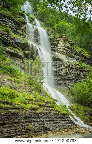 aterfall in the spanish national park Ordesa and Monte Perdido Pyrenees
