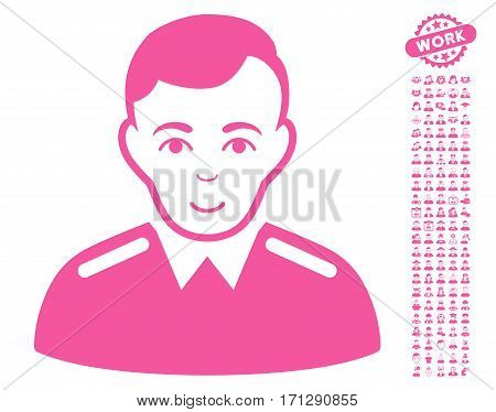 Officer pictograph with bonus men clip art. Vector illustration style is flat iconic pink symbols on white background.