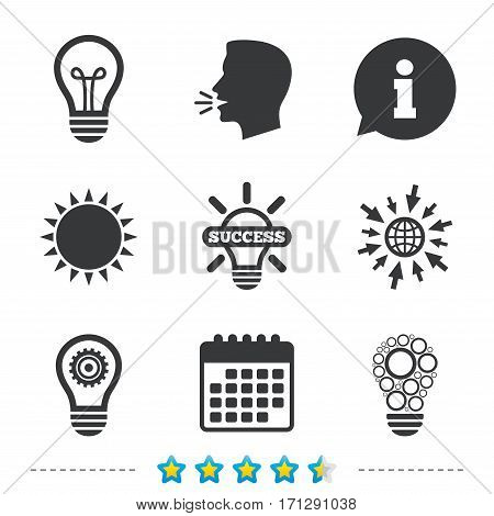 Light lamp icons. Circles lamp bulb symbols. Energy saving with cogwheel gear. Idea and success sign. Information, go to web and calendar icons. Sun and loud speak symbol. Vector