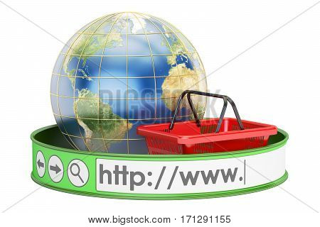 worldwide online shopping concept. 3D rendering isolated on white background