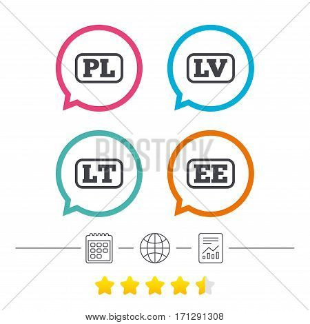 Language icons. PL, LV, LT and EE translation symbols. Poland, Latvia, Lithuania and Estonia languages. Calendar, internet globe and report linear icons. Star vote ranking. Vector