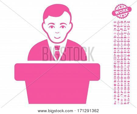 Politician pictograph with bonus occupation design elements. Vector illustration style is flat iconic pink symbols on white background.