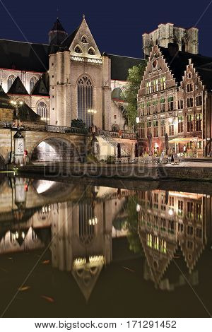 St. Michael's church and bridge at night. Ghent, Belgium.
