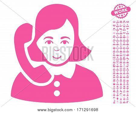 Receptionist pictograph with bonus avatar symbols. Vector illustration style is flat iconic pink symbols on white background.