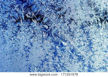 ice crystals on a window. Ukraine Europe