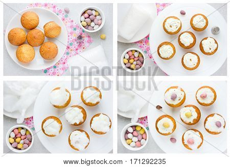 Easter cupcakes shaped birds nest with speckled candy eggs Easter recipe step by step