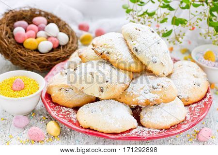 Easter recipe soft cookies with chocolate candy eggs