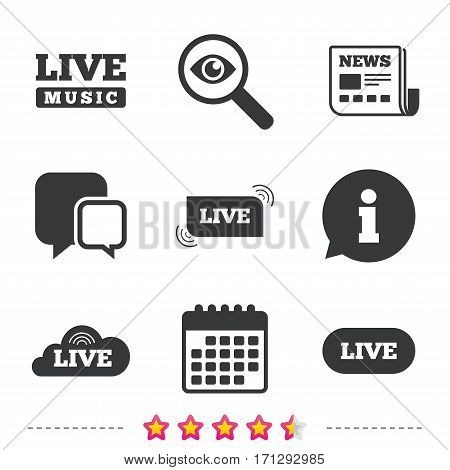 Live music icons. Karaoke or On air stream symbols. Cloud sign. Newspaper, information and calendar icons. Investigate magnifier, chat symbol. Vector