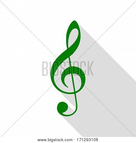 Music violin clef sign. G-clef. Treble clef. Green icon with flat style shadow path.