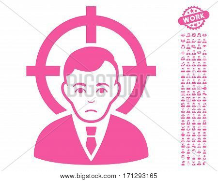 Victim Businessman pictograph with bonus human clip art. Vector illustration style is flat iconic pink symbols on white background.