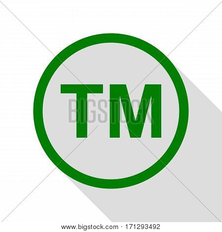Trade mark sign. Green icon with flat style shadow path.