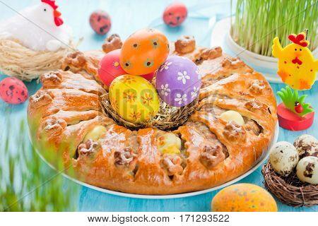 Meatloaf ring stuffed eggs for Easter dinner