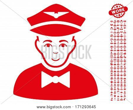Airline Steward icon with bonus men images. Vector illustration style is flat iconic red symbols on white background.