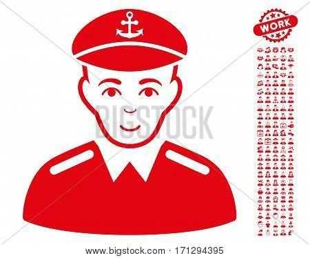 Captain icon with bonus human icon set. Vector illustration style is flat iconic red symbols on white background.