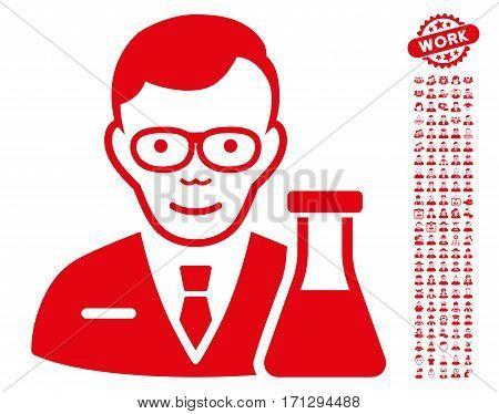 Chemist icon with bonus people images. Vector illustration style is flat iconic red symbols on white background.
