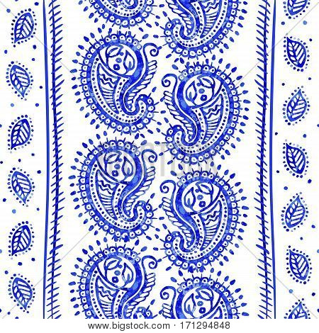 White and blue ornamental pattern. Indian decorative wallpaper.