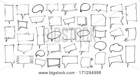 Set of Speech Bubbles. Hand Drawn. Isolated vector illustration on white background.
