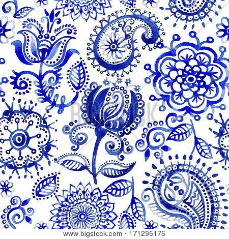 Watercolor vector pattern in Paisley indian style