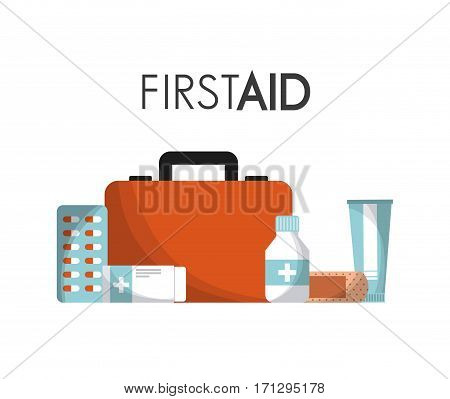 first aid briefcase with medicine equipment icons over white background. colorful design. vector illustration