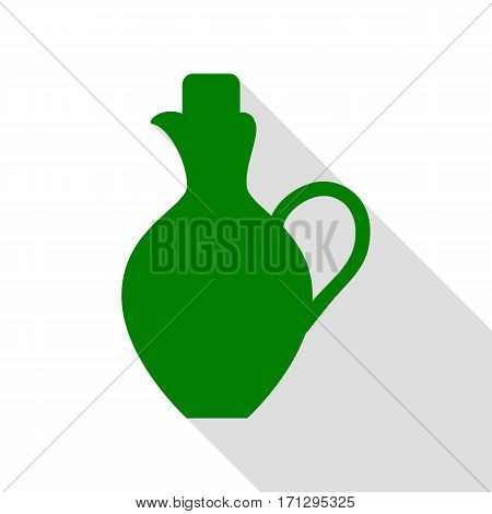 Amphora sign illustration. Green icon with flat style shadow path.