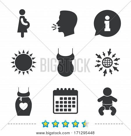 Maternity icons. Baby infant, pregnancy and shirt signs. Dress with heart symbol. Information, go to web and calendar icons. Sun and loud speak symbol. Vector