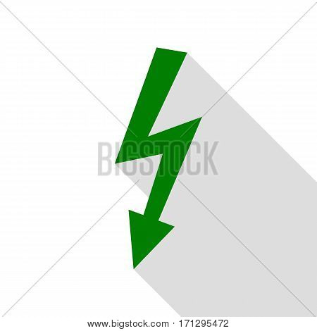 High voltage danger sign. Green icon with flat style shadow path.