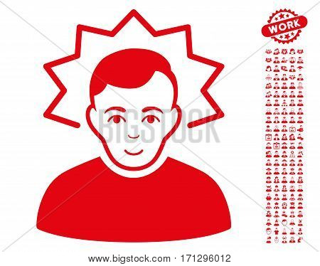 Inventor icon with bonus human symbols. Vector illustration style is flat iconic red symbols on white background.