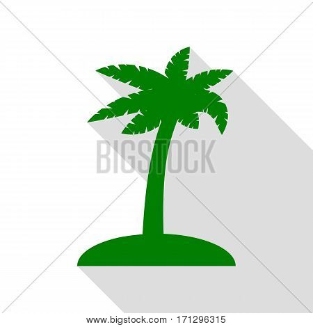 Coconut palm tree sign. Green icon with flat style shadow path.
