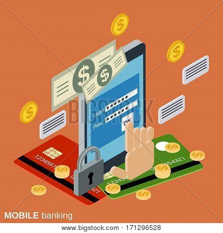 Mobile banking, online payment, money transaction vector concept illustration