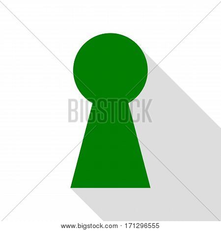 Keyhole sign illustration. Green icon with flat style shadow path.