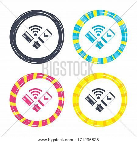 Wireless mobile payments icon. Smartphone, credit card and gift symbol. Colored buttons with icons. Poker chip concept. Vector