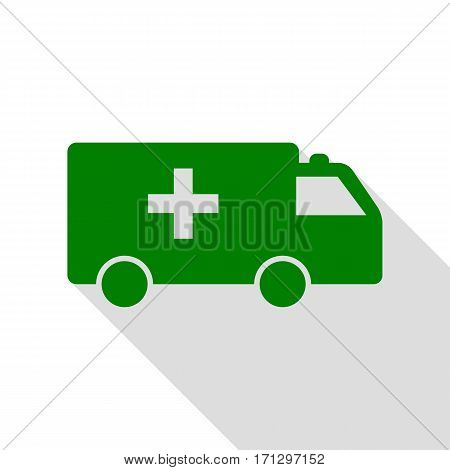 Ambulance sign illustration. Green icon with flat style shadow path.
