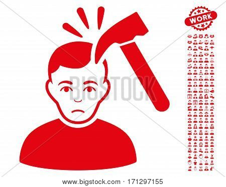 Murder With Hammer icon with bonus occupation images. Vector illustration style is flat iconic red symbols on white background.