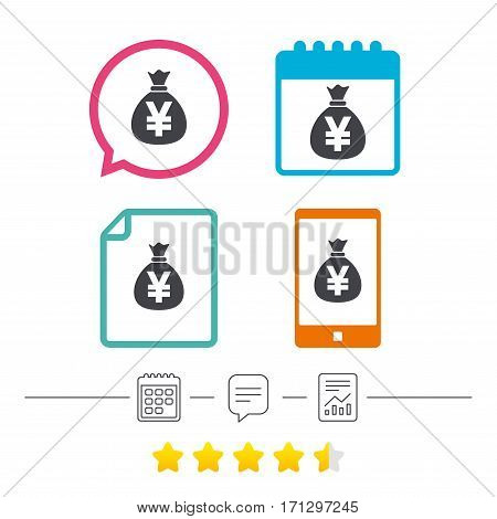 Money bag sign icon. Yen JPY currency symbol. Calendar, chat speech bubble and report linear icons. Star vote ranking. Vector