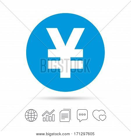 Yen sign icon. JPY currency symbol. Money label. Copy files, chat speech bubble and chart web icons. Vector