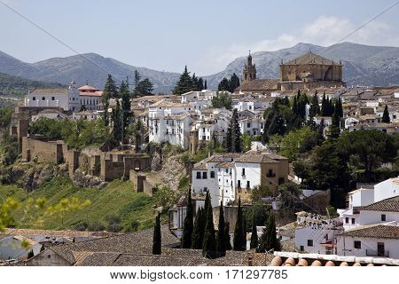 View overlooking the walled town of Ronda in southern Spain.  Vista of low mountains west of the town.